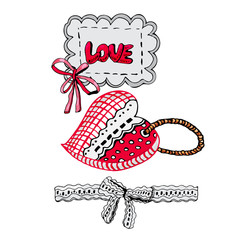 Composition with hand drawn sketch of  sewing hearts and decorative tape, bow and label. Color elements isolated on white background. Symbols for decorate card or label. For  Happy Valentine's Day.