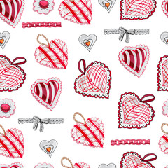 Seamless pattern with  hand drawn sketch of sewing  hearts and decorative tapes. Color objects isolated on white background. Symbols for decorate card, banner or label. For Happy Valentine's Day.
