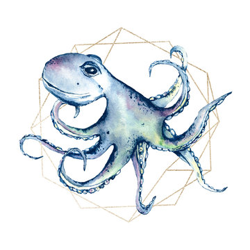 Octopus with frame watercolor cartoon sea illustration. Underwater animal, ocean life. Perfectly for printing kids textile, poster, postcard. Isolated on white. Hand painting.