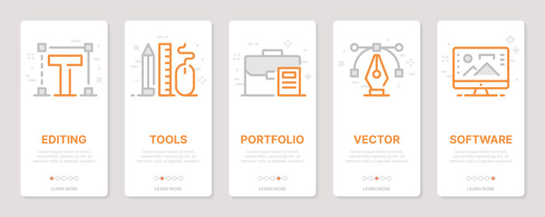 Web design related vertical cards. Mobile app onboarding screens Templates for a website. Icons with editable stroke Wall mural