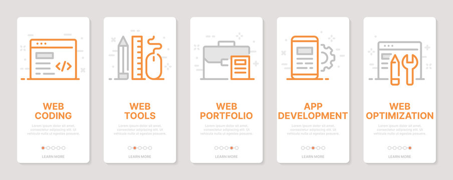 Web development related vertical cards. Mobile app onboarding screens Templates for a website. Icons with editable stroke