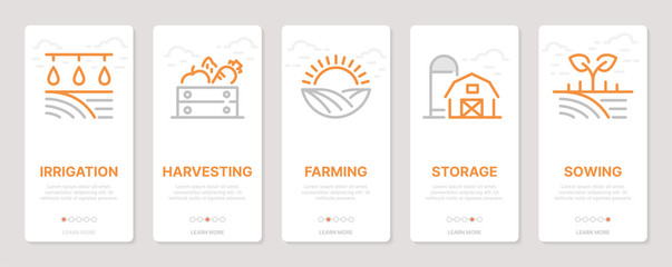 Farming realted vertical cards. Mobile app onboarding screens Templates for a website. Icons with editable stroke