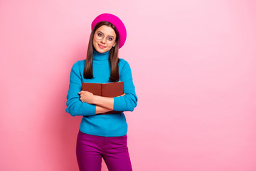 Fototapete - Portrait of lovely pretty book lover girl hug her favorite story poetry textbook wear blue purple good looking clothes isolated over pastel pink color background