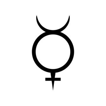 Mercury symbol, planet sign icon, vector illustration