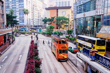 Traffic on the street of Hong Kong City. Fotomurales