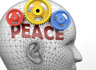 Peace and human mind - pictured as word Peace inside a head to symbolize relation between Peace and the human psyche, 3d illustration