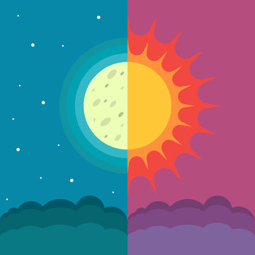 The Sun and The Moon on dual composition as concept of spring and autumn equinox