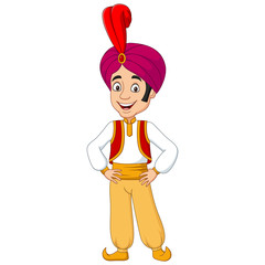 Cartoon young aladdin posing on white background