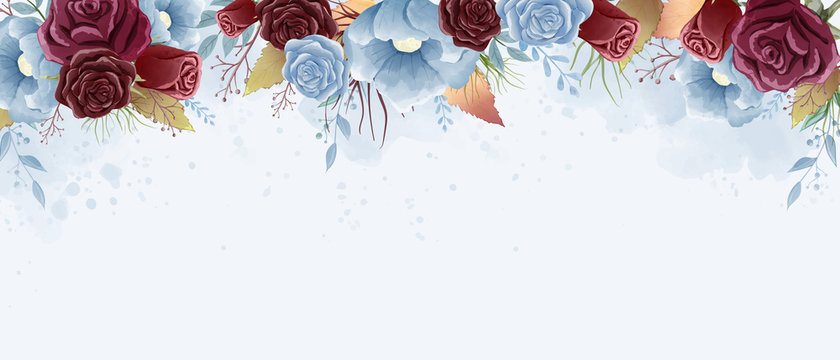 Watercolor roses and wild leaves painting. Burgundy and dust blue color theme. Design for wallpaper, background, poster, backdrop, and all printings.