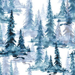 Seamless watercolor pattern, background. blue and White Watercolor Seamless Pattern of Conifer Tree. blue Silhouette spruce, pine, cedar, larch, abstract forest, silhouette of trees. Foggy forest