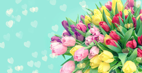 Spoed Foto op Canvas Tulp Tulip Flowers hearts turquoise background toned