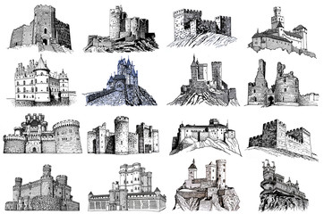 Graphical hand-drawn set of castles isolated on white background,jpg illustration