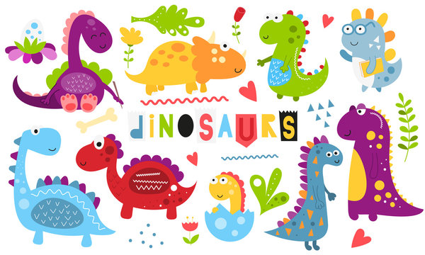 Cute dinosaurs set. Hand drawn. Doodle cartoon dino characters for nursery posters, cards, kids t-shirts. Vector illustration. Isolated on white background.