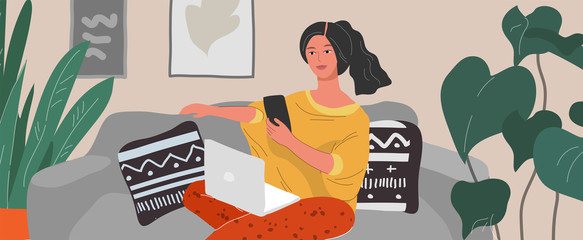 Cute woman sitting on chair with laptop in cozy scandinavian home interior. Gadget addiction concept. Girl spending time online. Daily life of social media networks user. Cartoon vector