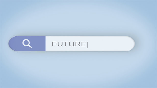 "Animation of a web search. ""FUTURE"" Typing into Search Engine on blue background. Search bar icon animation. Web search box asking the question"