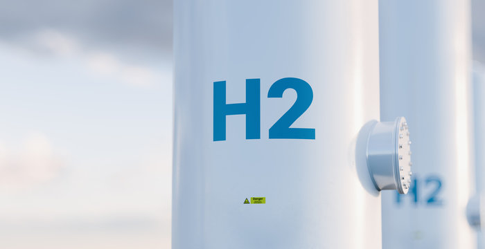 Hydrogen storage tank concept in beautiful morning light. 3d rendering.