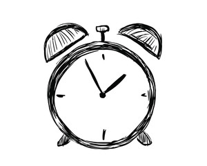 Hand drawn alarm clock isolated on white background. Clock Icon Vector illustration.