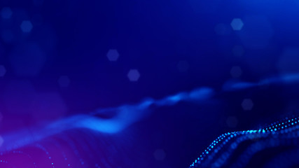 Microworld or sci-fi theme. 3d rendering background of glowing particles that form curved lines and 3d surfaces, grid with depth of field, bokeh. Blue version 3
