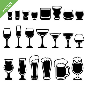 Set of different alcoholic drinks