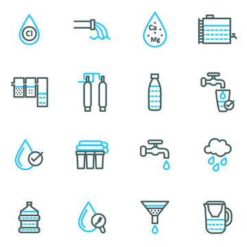Water Treatment Sign Thin Line Icon Set. Vector