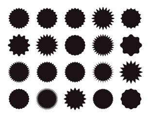 Starburst price sticker. Vector. Round burst star icon. Sunburst callout label isolated on white background. Set sale tag badges. Black empty shapes. Color illustration. Simple wave blank pricetag.