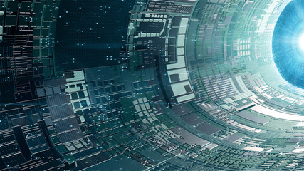 Inside A Futuristic Spaceship. Time Travel, Outer Space Alien Technology Concept