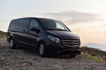 Bodrum / Turkey - 10.11.19: Test drive minibus Mercedes-Benz Vito Tourer 111 CDI in mountains