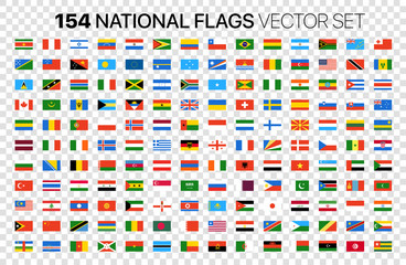154 national flags vector set isolated on transparent background Fotomurales