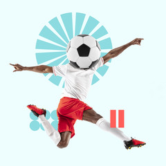 Creative sport and geometric style. Football, soccer player in action, motion on blue background....