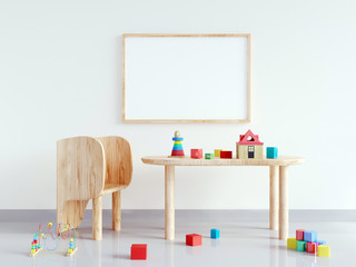 Table and chair in white child room. mock up wall in child room interior. Wall art. Interior scandinavian style. 3d rendering, 3d illustration