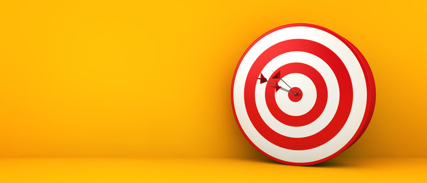 bullseye on yellow background