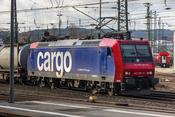 aachen, North Rhine-Westphalia/germany - 18 01 2020: an sbb cargo train at aachen central station in germany