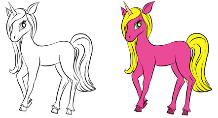 Fototapeten Pony Vector isolated pony. Coloring of unicorn. Colored pink cartoon pony. Coloring and colorful unicorn