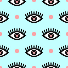 Romantic seamless pattern with eyes and polka dot. Cute girly print. Trendy vector illustration.