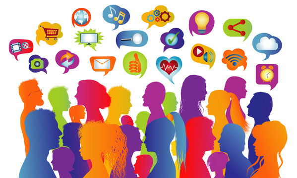 Connecting group of multiethnic people who socialize communicate and share information. Communication and sharing. Crowd that speaks. Social media network. Virtual contacts. Speech bubble
