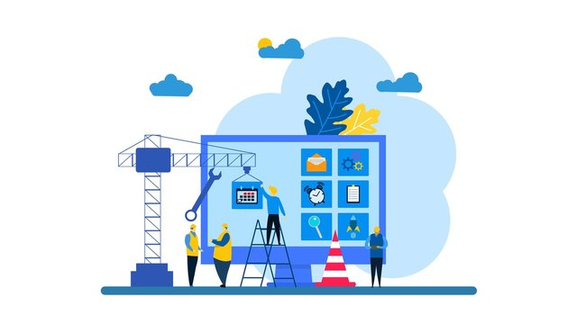 Website is under construction with Tiny People Character Concept Vector Illustration, Suitable For web landing page,Wallpaper, Background,banner,Book Illustration