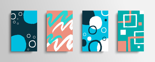 Collection of covers with color brush strokes. Set of artistic creative cards with hand drawn shapes. Vector illustration. Fotomurales
