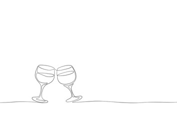 Continuous one line drawing isolated on white background. Vector outline contour glasses of wine sketch..