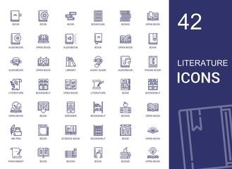literature icons set