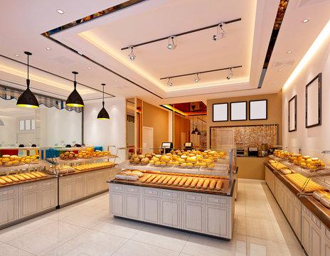 3d render of bakery cafe restaurant