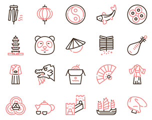 Chinese color linear vector icons set. Traditional culture of China