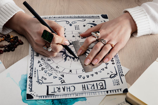 Cropped view of astrologer drawing birth chart with watercolor drawing on table