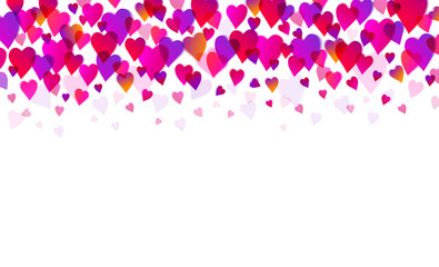 Wall Mural - White background with pink and purple valentines hearts. Valentines greeting banner. Horizontal holiday background, headers, posters, cards, website. Vector illustration