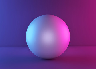 white ball or sphere in neon light, abstract background, blank sphere. minimalism concept. 3d rendering