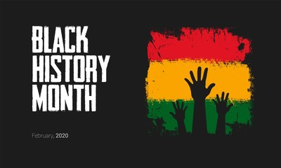 Black History Month to remember important people and events of the African diaspora banner template.