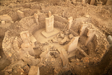 View on one of the temple circle in Gobeklitepe. October 2019.