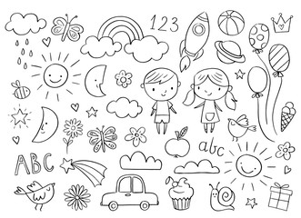 Vector hand-drawn kids doodle set. Drawings for children on white background. Baby shower related design elements set.