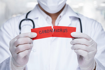 Concept of coronavirus quarantine. MERS-Cov.Novel coronavirus (2019-nCoV).Doctor with a stethoscope...