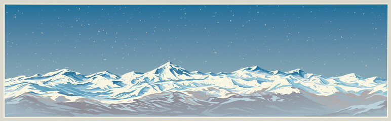 Canvas Prints Blue jeans Mountain winter landscape with white peaks of mountains of panoramic and background type.