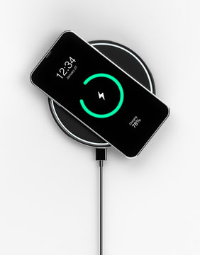 Charging smartphone with wireless charger - 3d rendering